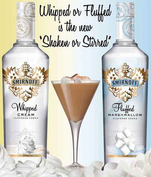 Fluffed whipped smirnoff seduces with two new flavors for Flavored vodka martini recipes